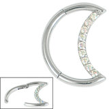 Steel Claw Set Jewelled Crescent Moon Hinged Clicker Ring - SKU 35749
