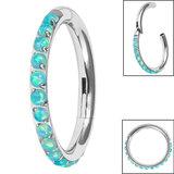 Titanium 1.2mm Pave Set Opal Edge Hinged Clicker Ring - SKU 35751