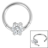 Steel Hinged Claw Set Jewelled Flower Clicker Ring - SKU 35756