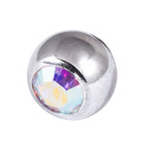 Titanium Threaded Jewelled Balls 1.2x4mm Mirror Polish metal, Crystal AB Gem