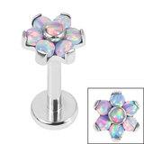 Titanium Internally Threaded Labrets 1.2mm - Titanium Claw Set 6 Point Synth Opal Flower - SKU 35859