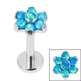Titanium Internally Threaded Labrets 1.2mm - Titanium Claw Set 6 Point Synth Opal Flower - SKU 35862