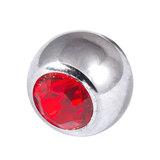 Titanium Threaded Jewelled Balls 1.6x5mm Mirror Polish metal, Red Gem