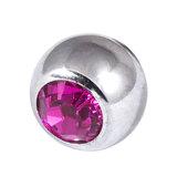 Titanium Threaded Jewelled Balls 1.6x5mm Mirror Polish metal, Fuchsia Gem