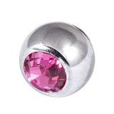 Titanium Threaded Jewelled Balls 1.6x5mm Mirror Polish metal, Pink Gem