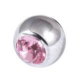 Titanium Threaded Jewelled Balls 1.6x5mm Mirror Polish metal, Light Pink Gem