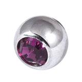 Titanium Threaded Jewelled Balls 1.6x5mm Mirror Polish metal, Purple Gem