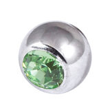 Titanium Threaded Jewelled Balls 1.6x5mm Mirror Polish metal, Light Green Gem