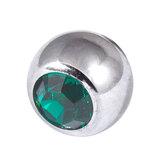Titanium Threaded Jewelled Balls 1.6x5mm Mirror Polish metal, Dark Green Gem