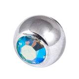Titanium Threaded Jewelled Balls 1.6x5mm Mirror Polish metal, Aqua AB Gem