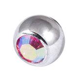 Titanium Threaded Jewelled Balls 1.6x5mm Mirror Polish metal, Rose AB Gem