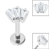 Titanium Internally Threaded Labrets 1.2mm - Steel Jewelled Art Deco Baguette Fan - SKU 36047
