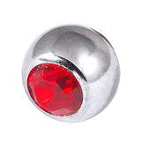Titanium Threaded Jewelled Balls 1.6x6mm Mirror Polish metal, Red Gem
