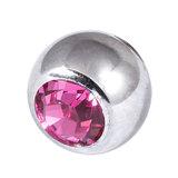Titanium Threaded Jewelled Balls 1.6x6mm Mirror Polish metal, Pink Gem