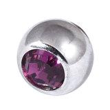 Titanium Threaded Jewelled Balls 1.6x6mm Mirror Polish metal, Purple Gem