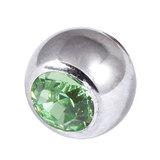 Titanium Threaded Jewelled Balls 1.6x6mm Mirror Polish metal, Light Green Gem