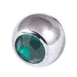 Titanium Threaded Jewelled Balls 1.6x6mm Mirror Polish metal, Dark Green Gem