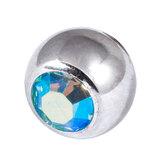 Titanium Threaded Jewelled Balls 1.6x6mm Mirror Polish metal, Aqua AB Gem