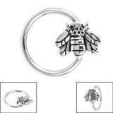 Steel BCR with Steel Clip In Honey Bee - SKU 36139