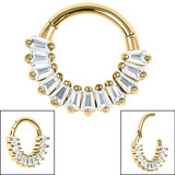 Gold Plated Steel Claw Set Multi-Baguette Hinged Clicker Ring - SKU 36145