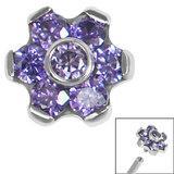 Titanium Claw Set CZ 7 Jewelled Flower for Internal Thread shafts in 1.2mm - SKU 36204