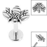Titanium Internally Threaded Labrets 1.2mm - Steel Honey Bee - SKU 36206