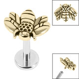 Titanium Internally Threaded Labrets 1.2mm - Steel Honey Bee - SKU 36208