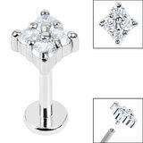 Titanium Internally Threaded Labrets 1.2mm - Steel Claw Set Jewelled Diamond Shape - SKU 36230