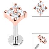Titanium Internally Threaded Labrets 1.2mm - Steel Claw Set Jewelled Diamond Shape - SKU 36233