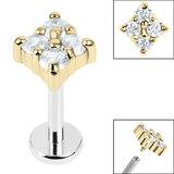 Titanium Internally Threaded Labrets 1.2mm - Steel Claw Set Jewelled Diamond Shape - SKU 36237