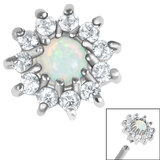Steel Claw Set Opal and CZ Jewel Sunflower for Internal Thread Shafts in 1.2mm (0.9mm) - SKU 36356