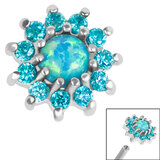 Steel Claw Set Opal and CZ Jewel Sunflower for Internal Thread Shafts in 1.2mm (0.9mm) - SKU 36357