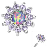 Steel Claw Set Opal and CZ Jewel Sunflower for Internal Thread Shafts in 1.2mm (0.9mm) - SKU 36358