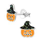 Sterling Silver Pumpkin Witch Ear Stud Earrings - SKU 36401