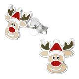 Sterling Silver Rudolph the Red Nose Reindeer Ear Stud Earrings - SKU 36499