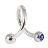 Steel Double Jewelled Spiral 1.6mm 1.6 / 10 / Sapphire