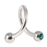 Steel Double Jewelled Spiral 1.6mm 1.6 / 10 / Turquoise