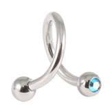 Steel Double Jewelled Spiral 1.6mm 1.6 / 10 / Aqua AB