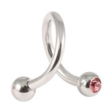 Steel Double Jewelled Spiral 1.6mm 1.6 / 12 / Light Pink