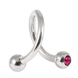 Steel Double Jewelled Spiral 1.6mm 1.6 / 12 / Fuchsia