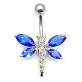 Belly Bar - Dragonfly (XA4) 1.6mm, 10mm, Sapphire Blue
