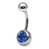 Steel Jewelled Belly Bar - 10mm Sapphire Blue
