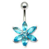 Belly Bar - Flower (PT215) 1.6mm, 10mm(most popular size), Light Blue