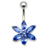 Belly Bar - Flower (PT215) 1.6mm, 10mm(most popular size), Sapphire Blue