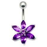 Belly Bar - Flower (PT215) 1.6mm, 10mm(most popular size), Purple