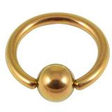 Titanium BCR with Titanium Ball 1.6mm gauge 1.6mm, 14mm, (5mm) Gold
