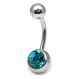 Steel Jewelled Belly Bar -  6mm Turquoise
