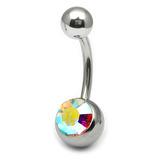 Steel Jewelled Belly Bar -  6mm Crystal AB
