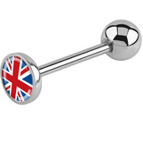 Steel Logo Tongue Bars (8mm Disk) Union Jack Flag