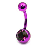 Titanium Single Jewelled Belly Bars 10mm Anodised Pink-Purple, Purple
